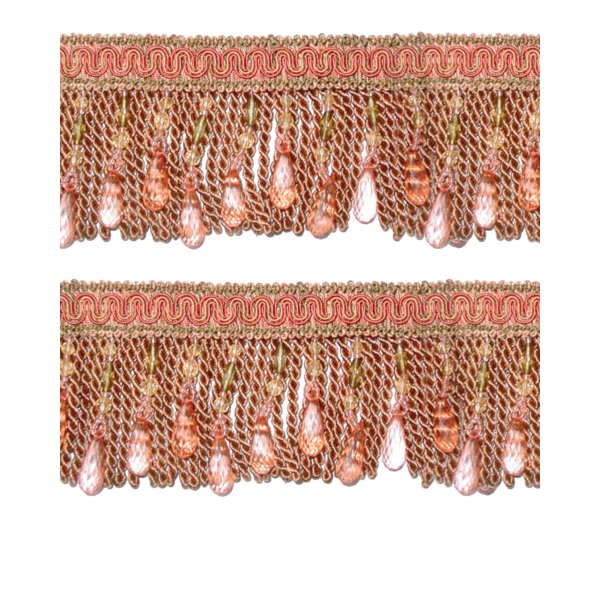 Bullion Fringe with Beads - Antique Dark Pink/Olive 10cm