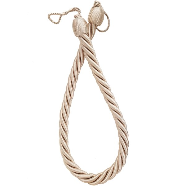 PAIR Curtain Tie Back rope twist - Creamy Gold 85cm