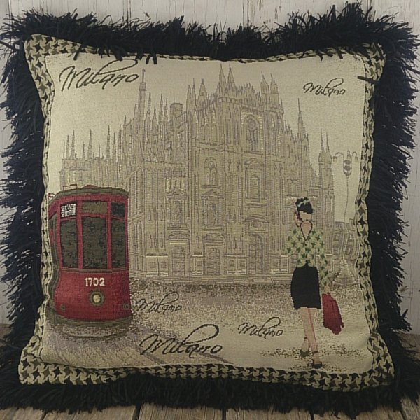 JAQUARD CUSHION COVER 45X45CM MILANO TRIMMED WITH BLACK RUCCHE