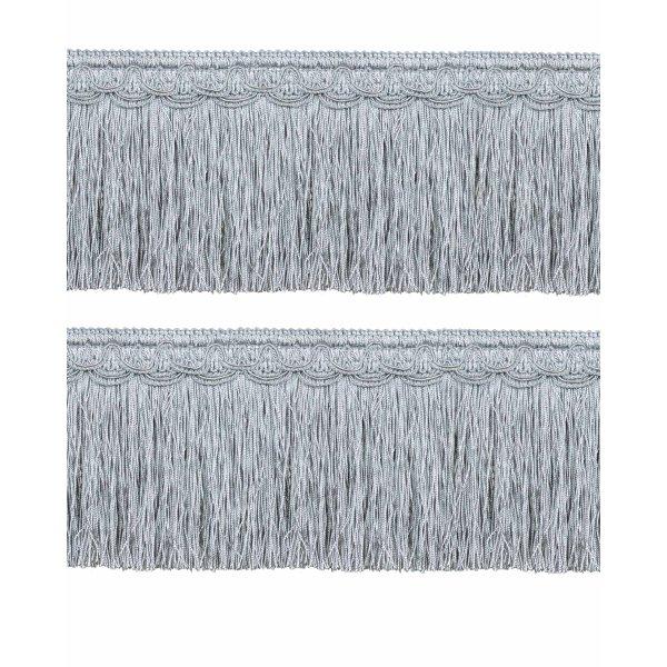 Bullion Fringe on Fancy Braid - French Silver Blue 12.5cm (Prices per metre)
