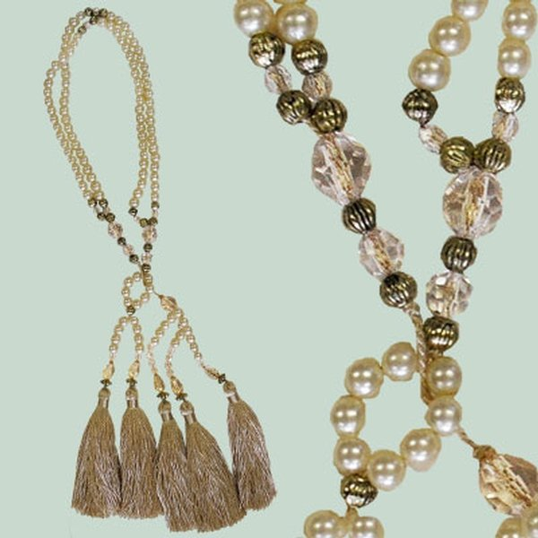 PAIR Curtain Tie Back Pearl Strand with tassels - Cream 9cm ending
