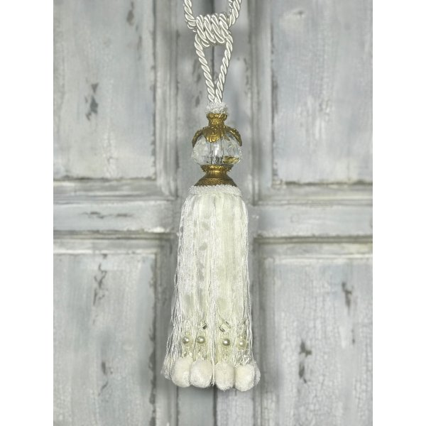 Pair Curtain Tie Back - 30cm Tassel with glass faceted top and Pom Poms - Cream