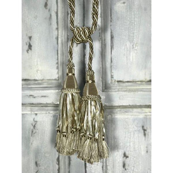 Pair Curtain Tie Back - 30cm Double Headed Tassel - Sand Beige