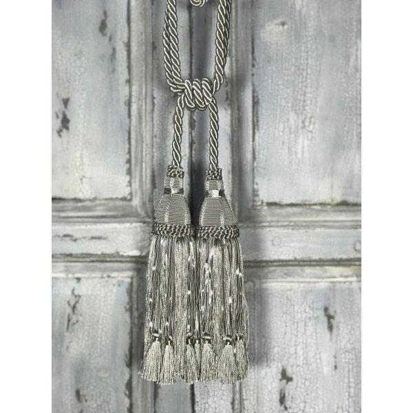 Pair Curtain Tie Back - 30cm Double Headed Tassel - Silver Blue
