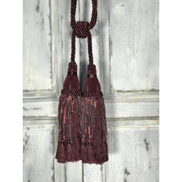 Pair Curtain Tie Back - 30cm Double Headed Tassel - Red Wine