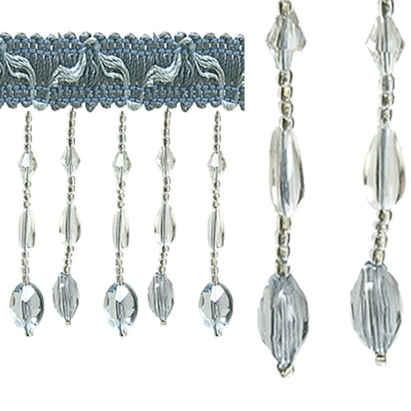 Fringe Beading - Light Blue 6cm (Price is per metre)