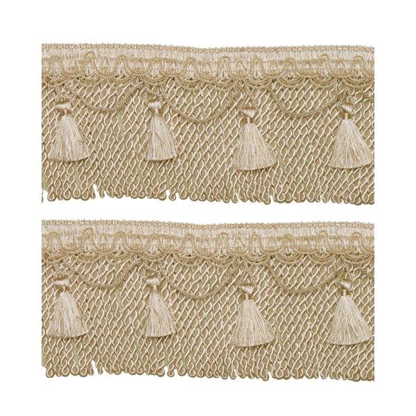 Bullion Cord Fringe on Braid with Scalloped Tassel - Creamy Gold 12cm (Prices per metre)