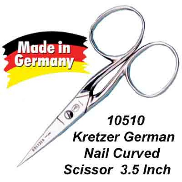 KRETZER GERMAN MADE CURVED HEAVY DUTY NAIL/CRAFT  SCISSORS 3.5""