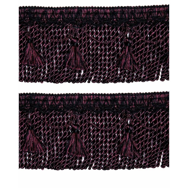 Bullion Fringe Cord on Braid with Scalloped Tassel - Red Wine / Black 12cm (Prices per metre)