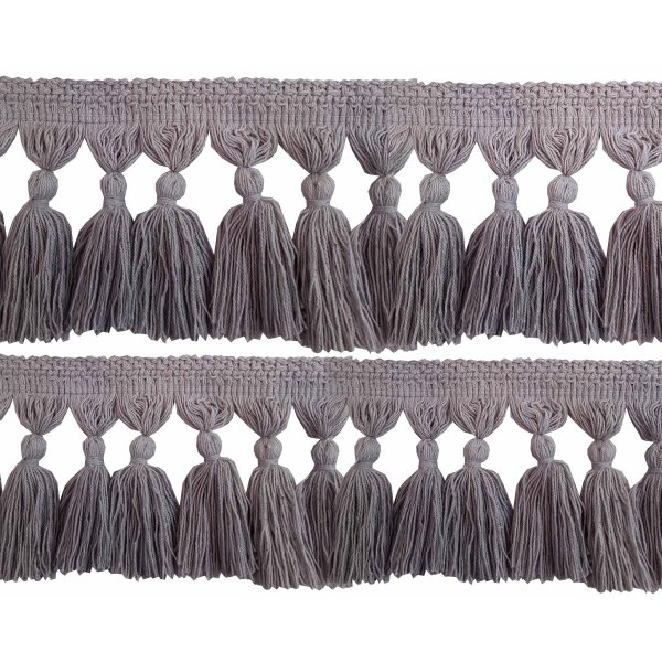 Natural Cotton Tassel Fringing - LIGHT GREY 9.5cm