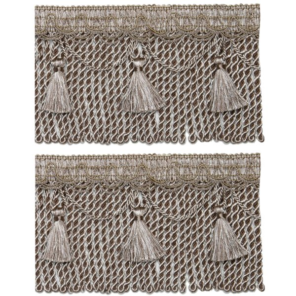 Bullion Cord Fringe on Braid with Scalloped Tassel - Taupe 12cm (Prices per metre)