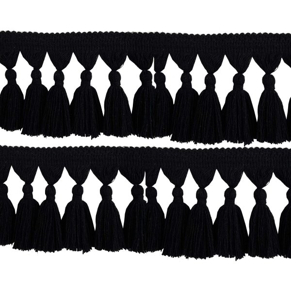 Natural Cotton Tassel Fringing - BLACK 9.5cm
