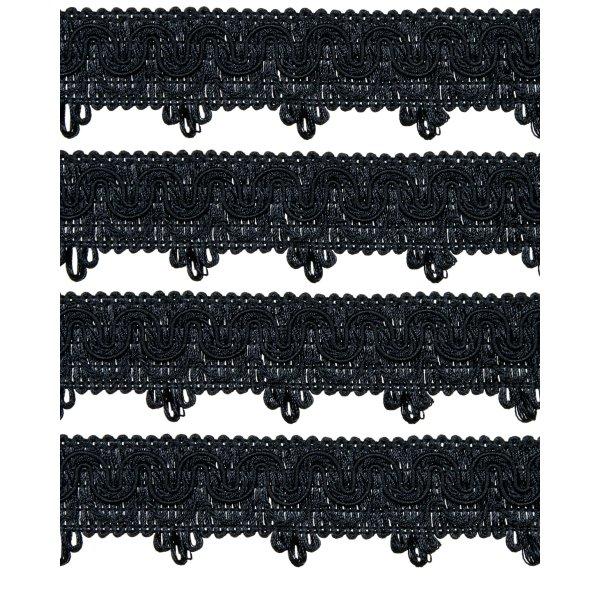 Ornate Scalloped Braid - Black 45mm (Price is per metre)