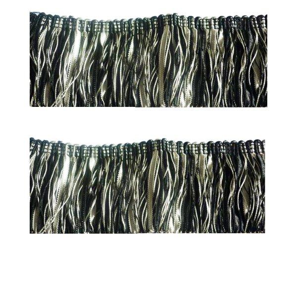 Bullion Fringe - Black Silver 6cm (Prices per metre)