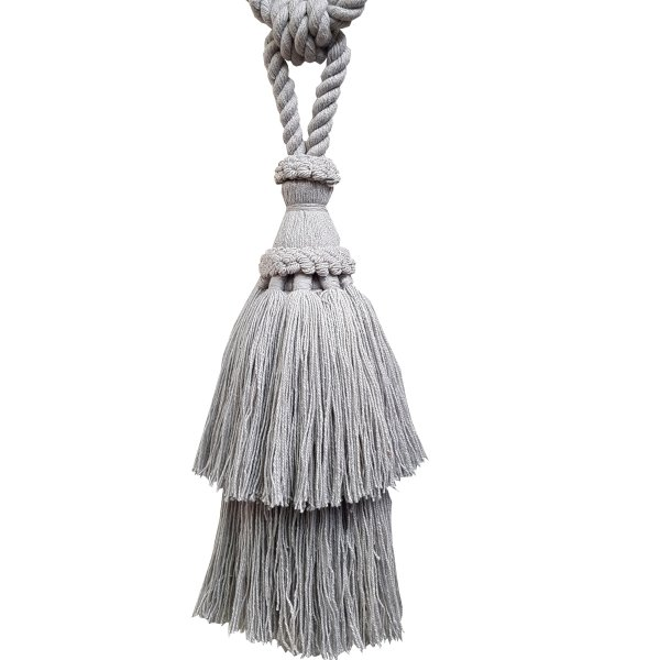 PAIR Natural Cotton Curtain Tie Back with tassel - LIGHT GREY 24cm