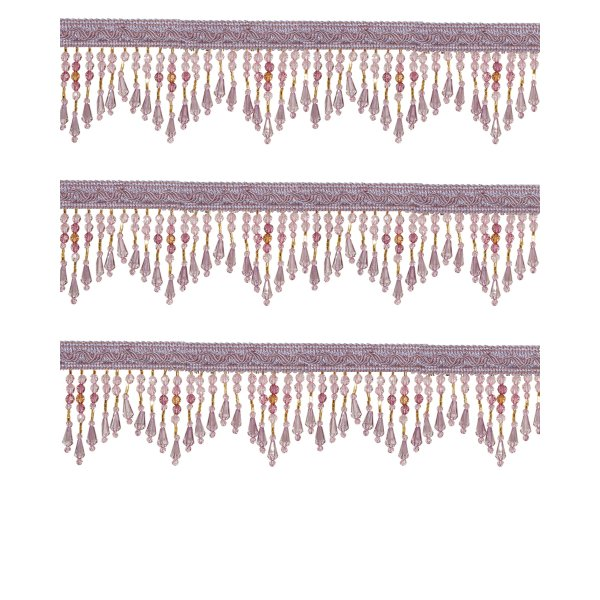 Fringe Beading with drops - Amethyst 5.5cm (Price is per metre)