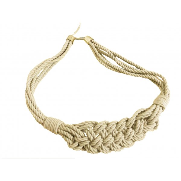 PAIR Natural Cotton Curtain Tie Back with Macrame Rope Weave - Cream 85cm