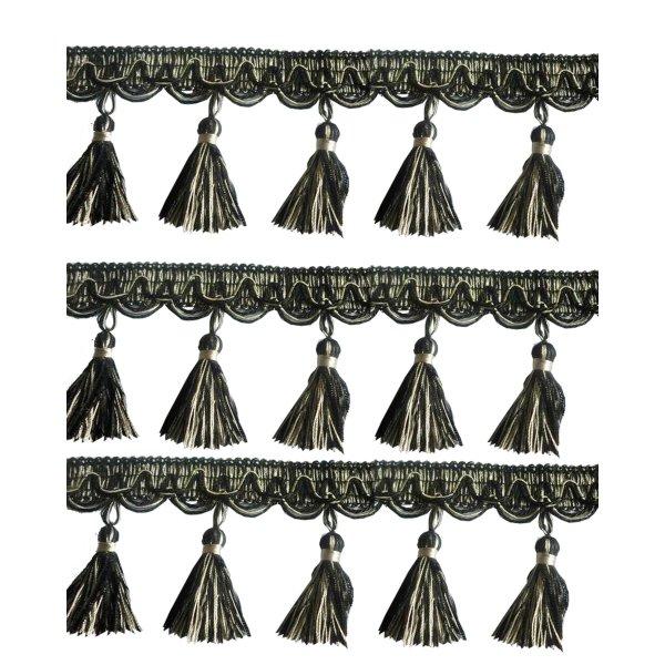 Fringe Tassels - Silver Black 9cm Price is per metre.