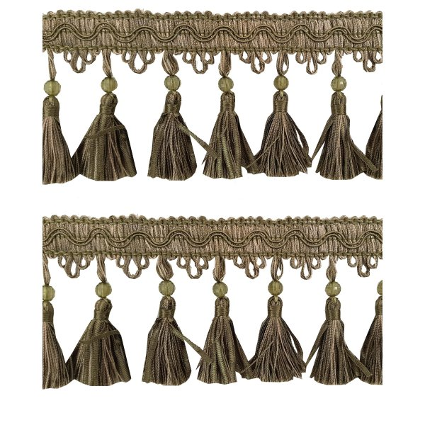 Fringe Tassels with Beads/Ribbons - Olive Green / Gold 9cm Price is per metre.