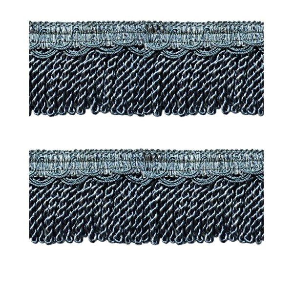 Bullion Cord Fringe on Braid - WEDGWOOD BLUE 8cm