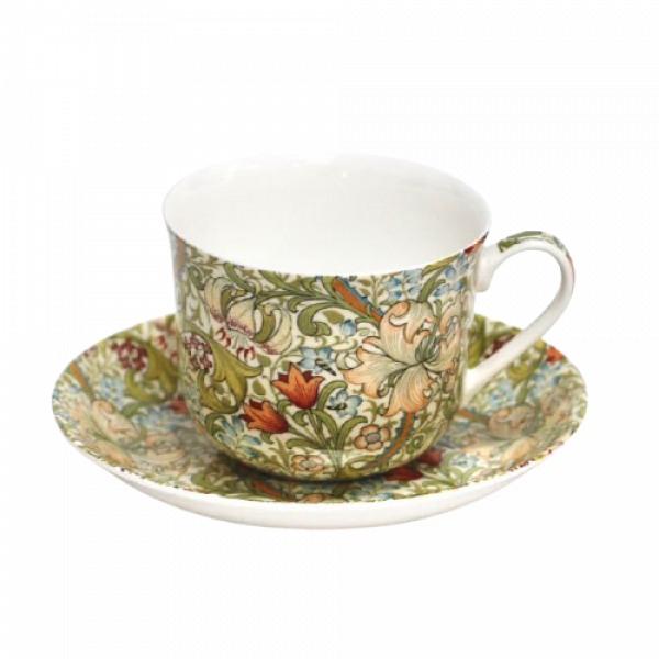 Breakfast Cup and Saucer Set Fine China NEW Gift Boxed Golden Lily 500ml 17.5oz