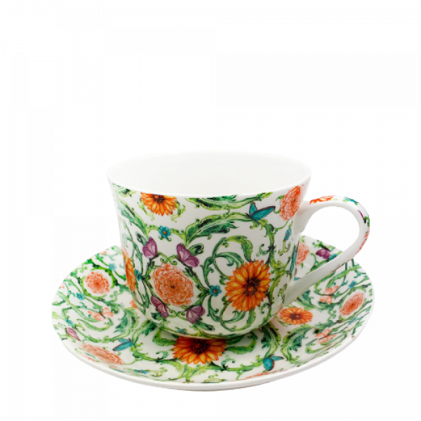 Breakfast Cup and Saucer Set Fine China NEW Gift Boxed Vintage Trellis 500ml 17.5oz