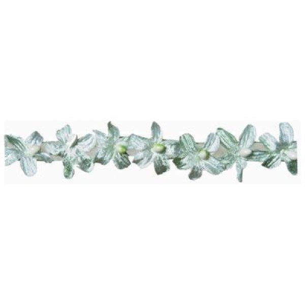 Velvet Flower Braid - Blue 35mm (Price is per metre)