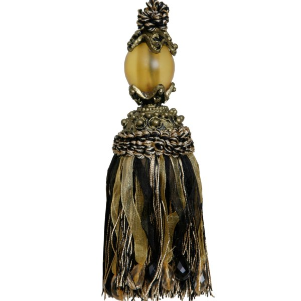Tassel with Crystal Ball - BLACK 17cm