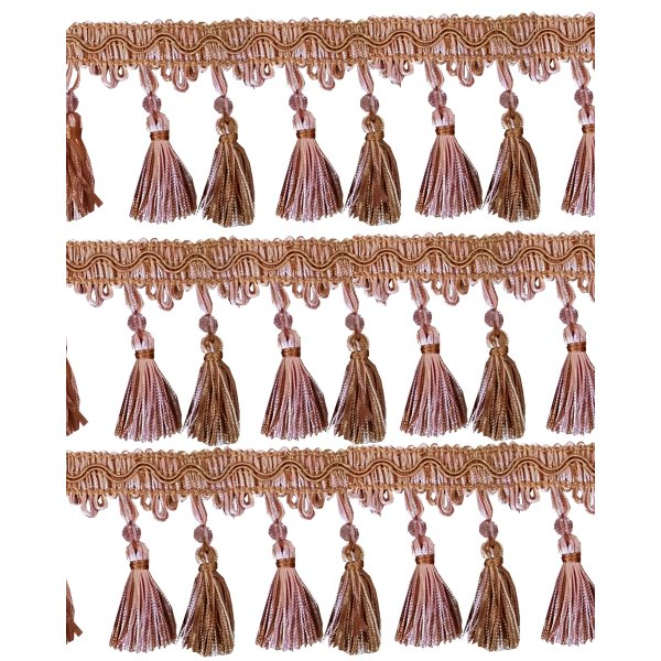 Fringe Tassels with Bead - Dusky Pink / Gold 85mm Price is per metre.