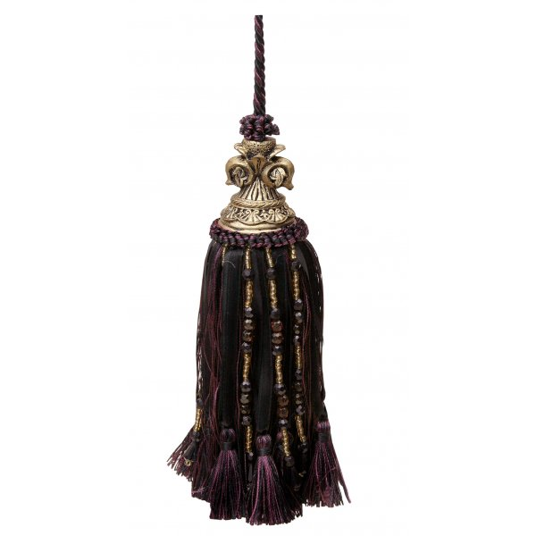 Tassel with Fleur de Lys Top and ribbons and beads - Red Wine / Black 18cm