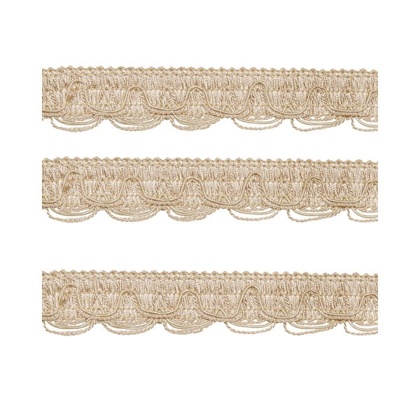 Scalloped Looped Braid - Cream / Gold 28mm (Price is per metre)