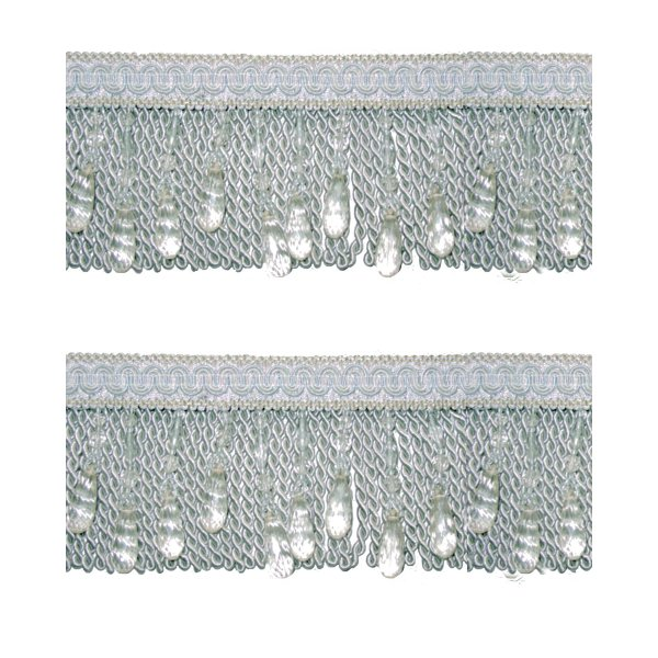 Bullion Fringe with Beads - Pale Silver Blue / Crystal 10cm (Prices per metre)