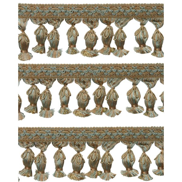 Fringe Acorn Tassels with Flower Cord - Green / Gold 5cm Price is per metre.
