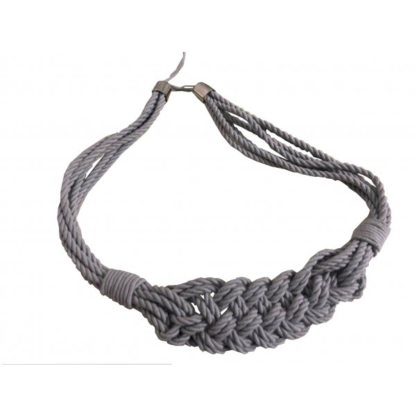 PAIR Natural Cotton Curtain Tie Back with Macrame Rope Weave - Light Grey 85cm