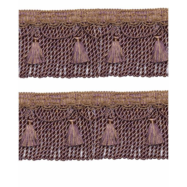 Bullion Fringe Cord on Braid with Scalloped Tassel - Purple / Gold 12cm (Prices per metre)