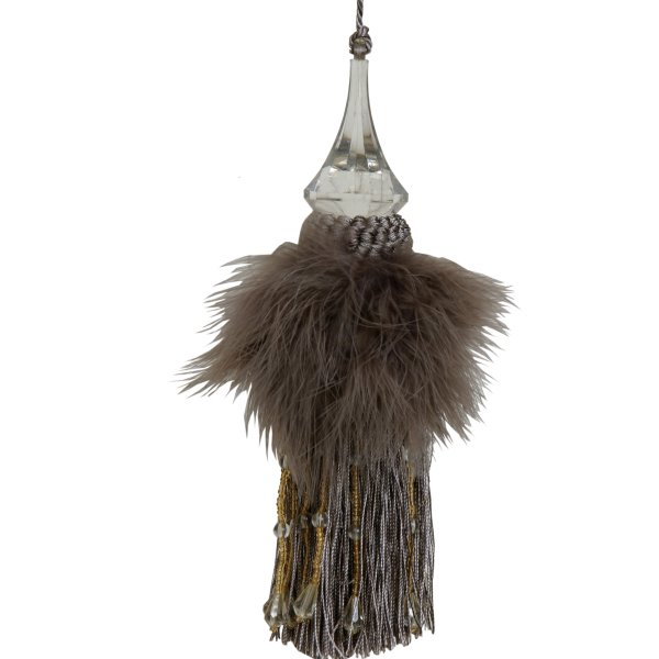 Tassel with Feathers and Beaded Fringing - Mocha Brown 20cm