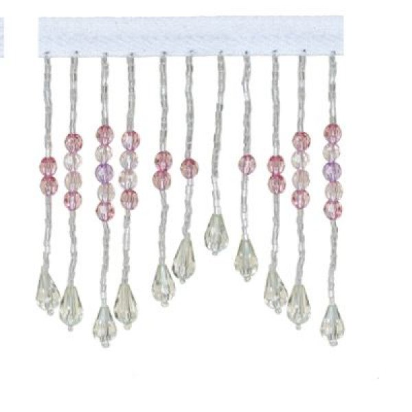 Fringe Beading with Flower Drop - White Pink 9.5cm (Price is per metre)