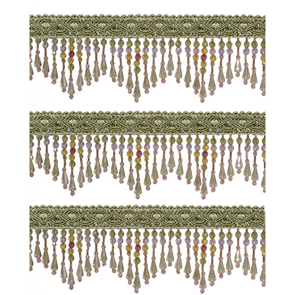 Fringe Beading - Green 5.5cm (Price is per metre)