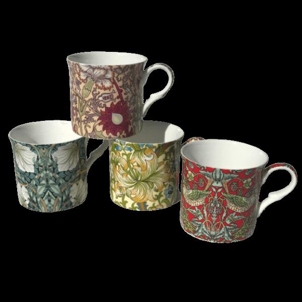Morris Rose Design Set of 4 NEW Heritage Brand 300ml 10.5 oz ea