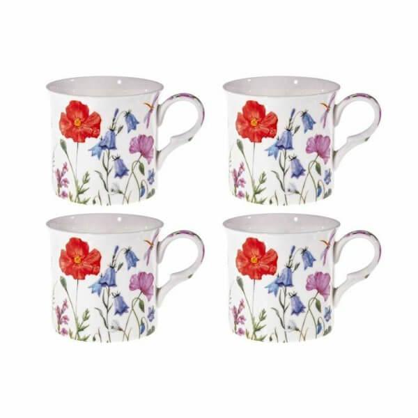 Spring Flowers Design Set of 4 NEW Heritage Brand 300ml 10.5 oz ea
