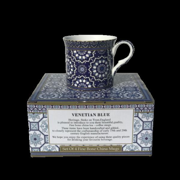 Venetian Blue Design Set of 4 NEW Heritage Brand 300ml 10.5 oz ea