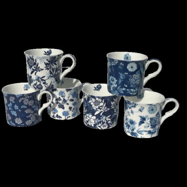 Blue Victorian Design Set of 6 Mugs NEW Heritage Brand 300ml 10oz