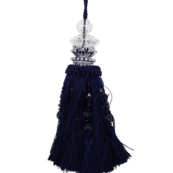 Tassel with Silver and Faceted Glass Top with beads - Navy Blue 19cm