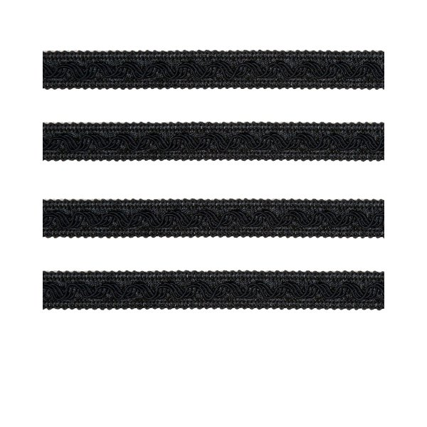 Small Fancy Braid - Black 11mm (Price is per metre)