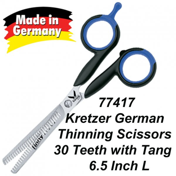 """77417 Kretzer German-made thinning scissors with 30 teeth and finger-rest 6"""""""