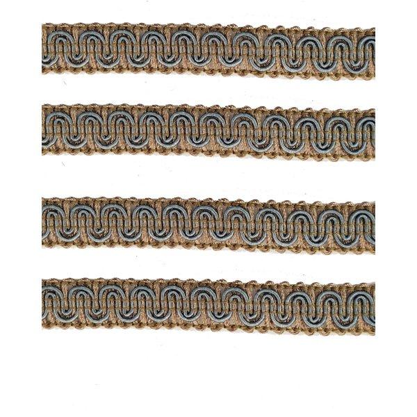 Upholstery Braid - Beige / Sea Blue 1.3cm (Price is per metre)
