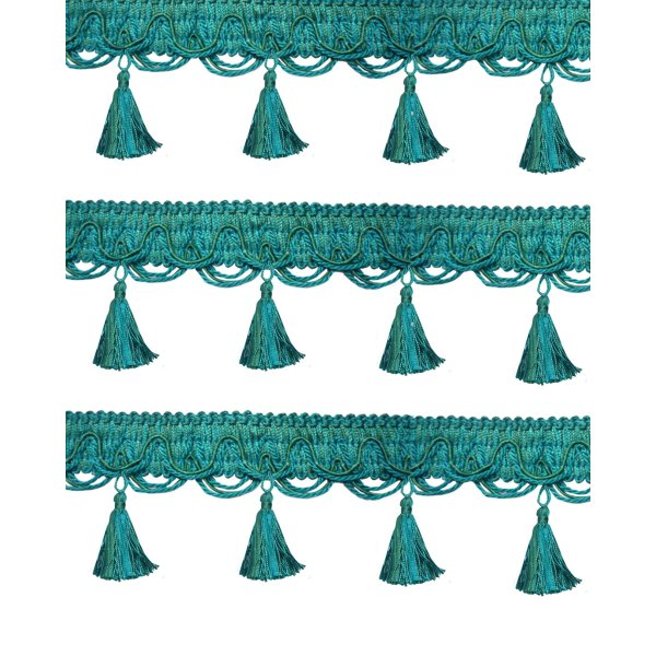 Fringe Tassels - Aqua Blue 9cm Price is per metre.