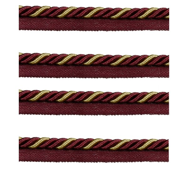 Piping Cord 2-Tone Twist on Tape - GOLD/RED WINE