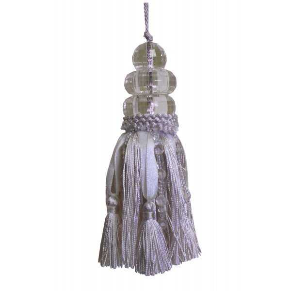 Tassel with Triple Beaded Top and ribbons - CREAM 14cm
