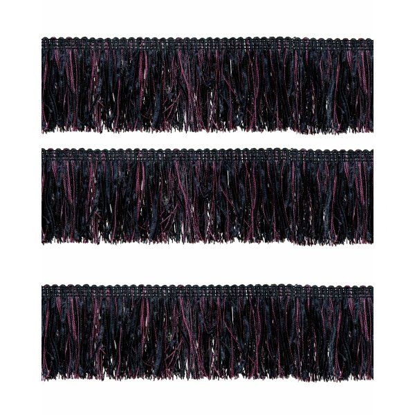 Bullion Fringe with Ribbons - Red Wine / Black 6cm (Prices per metre)
